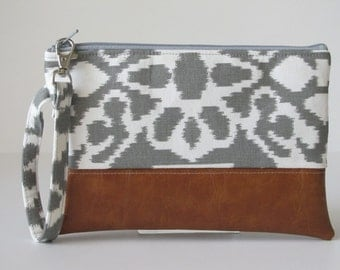 iPhone Wristlet Wallet, Vegan Leather Clutch Purse, Cellphone Wristlet, Padded Zipper Pouch,Grey ikat, Gift For Her, Holiday Gift,