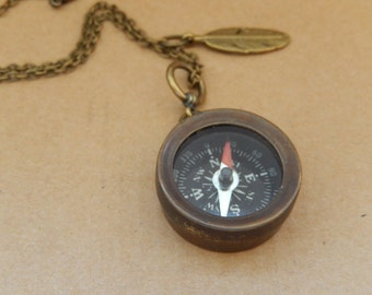 Compass Necklace, Working Compass,  Long Chain