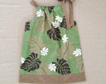 Pillowcase Dress - Green and Brown Hawaiian 4T