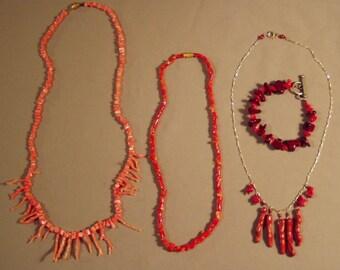 Vintage Lot Genuine Coral 3 Necklaces Branch Coral & Coral Bead Bracelet  8073