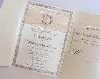 Wedding Invitations, Wedding invite, Lace Wedding Invite, Lace Invitation, Glitter Wedding Invite, Pocketfold Wedding Invite, CATRINA