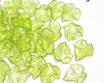 Wholesale. 240 Acrylic Leaf Beads Charms.Icy Light Green Tone