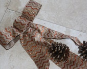 Fall Pine Cone Door Hangar or Wall Decor Burlap Bow Chevron Stripes Natural Glittered