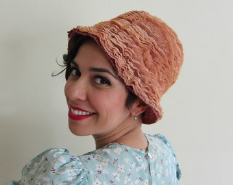 Vintage 1960s Peach Lace Cloche Hat / 60s Tall Hat in Frilly Tiers