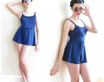Vintage 1970s Blue and White Swimsuit / 70s One Piece Maillot with Skirt over Boycut Shorts / Medium