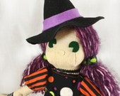 Witch Doll - Cloth Witch Doll - Cloth Halloween Doll- Witch Art Doll- Gift For Goths - Skulls Witch- Gothic Gift- Halloween Party Decor
