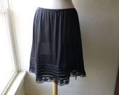 Slip Skirt Plus Size Midnight Black Glam Garb Handmade USA Romantic Skirt Victorian Steampunk Vintage Rockabilly Burlesque Halloween Costume
