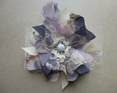 Fabric Flower Brooch Pin Floral Print Lavender Blue Grey Button Glam Garb Handmade USA Romantic Victorian Steampunk Vintage Upcycled OOAK