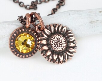 Sunflower Jewelry Copper Charm Necklace with Swarovski Crystal Golden Yellow Harvest Jewelry Summer Fall Autumn Thanksgiving Gift for Women