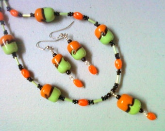 Orange, Lime Green and Black Necklace and Earrings (0848)