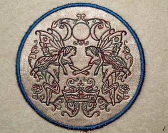 """Faerieland Crest on Cowhide Leather Iron on Patch 4.5"""""""