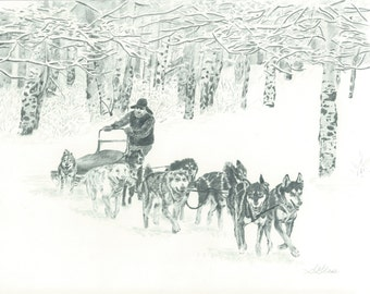 "8""X10"" Print of 'Around the Corner' Sled Dog Team from original graphite drawing by Sarah Marie Glass"