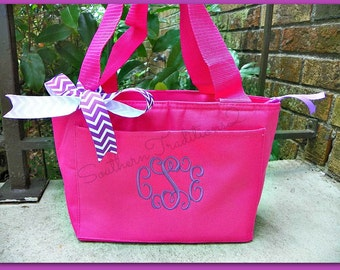 Monogram lunch Tote - Personalized Lunch Tote - Back to school lunch tote - Monogram lunch box -  Monogram lunch bag