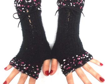Black Fingerless Gloves Corset Wrist Warmers with Suede Ribbons Pink