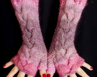 Fingerless Gloves Cabled Warm Arm Warmers Salmon Pink Light Brown Violet Handknitted