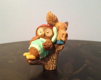 1993 Owl with Friend Squirrel Collectible Christmas Ornament Hallmark Cards Inc.