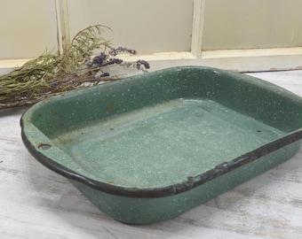 Green Enamel Pan with White Flecks - primitive farmhouse decor - Rectangular Enamelware Dish