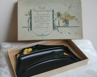 Art Deco Metal Crumb Catcher Tray & Scraper Set in Original Box, Black Yellow Orange Green Tole Hand Painted Flowers, Decorative Collectible