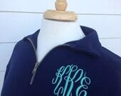 SALE - Monogrammed Zip Sweatshirt - Quarter Zip Pullover Monogrammed Sweatshirt