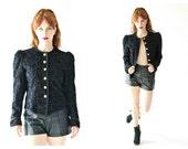 Yves SAINT LAURENT Blazer- Sz. 6, Black Velvet, Gold Buttons, Cap Sleeve, Designer Vintage 36, Paisley LOT 3