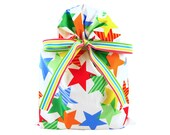 Reusable Fabric Gift Bag with Bright Stars for Birthday, Graduation, Father's Day, or other Celebration