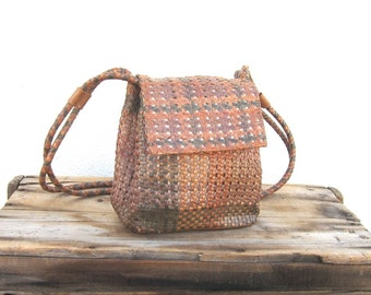 Shoulder Bucket Bag Multi Color Tan Leather Woven Leather Purse