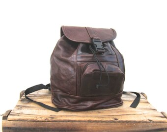 Backpack Rucksack Rugged Brown Leather Bag
