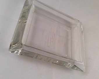 Vintage Monogrammed Art Deco Glass Tray - DMH