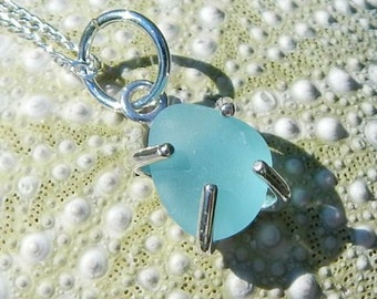 Eco Friendly Necklace GENUINE Sea Glass Jewelry In Sterling Silver Aqua Blue Beach Glass Necklace Seaglass Pendant Beach Jewelry