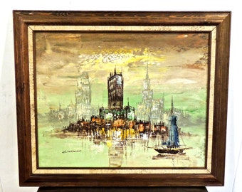 vintage Cinder painting - 1960s mid century framed cityscape art