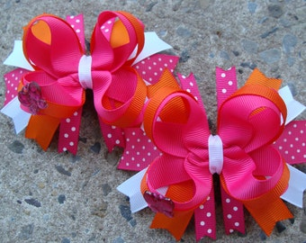 Toddler Hair Bow Flower Hair Bow Set Loopy Flower Hair Bow Hair Bow Pair orange and pink hair bows Pigtails hair bows