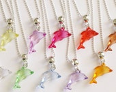 Dolphin Silver Necklace 12 Charm Party Favor  Mixed Colors Necklaces