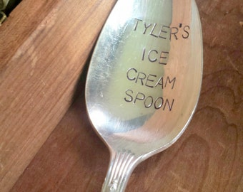Personalized Spoon ~ Hand Stamped Spoon ~ Ice Cream Spoon with Name ~ Vintage Silver Flatware