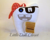 Tooth Fairy Pillow - Pirate can be Personalized / Pirate Tooth Pillow / Tooth Shaped Pirate