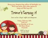 Boys Sleepover Birthday Party Invitation -- boys campout - boys slumber party--  you print or I print
