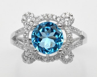 Handmade Natural Gemstone Jewelry, Genuine Sky Blue Topaz Sterling Silver Ring  FD5A0035 RIS6-SWT458