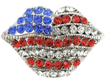American Flag Lips Brooch 1005082