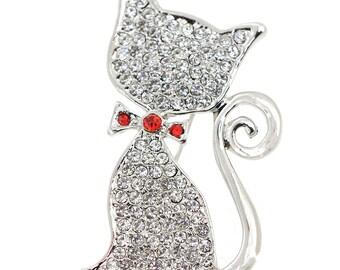 Crystal Cat Pin Brooch 1005202