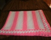 Knit 2 Tone Pink & White Baby Blanket / Afghan / Lapghan With Crochet Trim