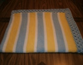 Knit Light Blue & Yellow Baby Blanket / Afghan / Lapghan With Crochet Trim