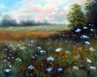 Summer Field of Blue 9x12 inch oil painting by Alexandra Kopp