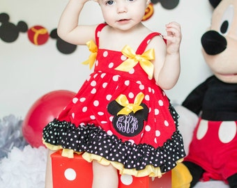 Monogram Pinafore, Baby Girl Pinafore, Ruffle Diaper Cover, Birthday Outfit, Minnie Mouse Birthday
