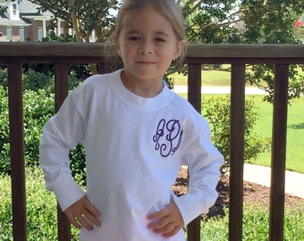 Girls Monogram T-Shirt, Personalized T-Shirt, Monogrammed T-Shirt, Girls Monogrammed Shirt, Toddler Monogrammed Shirt, Long Sleev