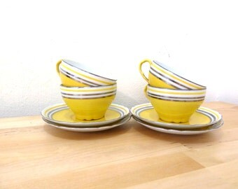 Vintage Victoria Teacups / Yellow and Silver Teacups / Teacup and Saucer Set / 50s Teacups / Modern Tea Set / MCM Decor