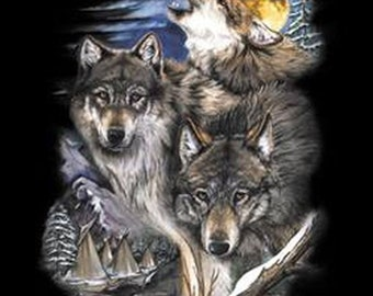 Wolf T Shirt Wolves and Village Graphic on Quality Adult T Shirt  00262D2