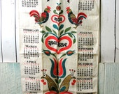 Vintage Linen Tea Towel Calendar Year 1964, Retro Swedish Farmhouse Birds Roosters Peace Love Happy Heart