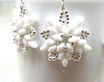 Sterling Silver and White Snowflake Earrings, Beaded White Snowflake Earrings