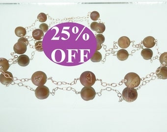 NOW 25% OFF Coppery Druzy Quartz Beads and Rose Gold Filled Necklace