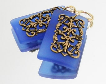 Sapphire Sea Glass, Antiqued Gold and Gold Filled Earrings