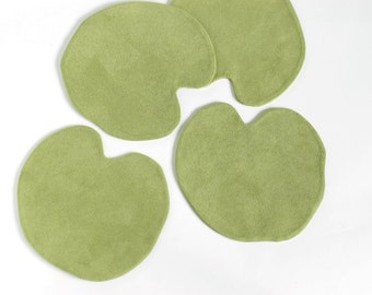 Water lilies leaf green fabric cup coasters, set of 4
